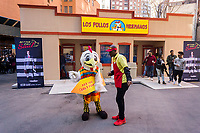 "A pop-up of the renowned Los Polos Hermanos chicken fast food restaurant appears in a parking lot in Lower Manhattan in New York on Sunday, April 9, 2017. The fictional restaurant is part of the plot of ""Better Call Saul"" (and its parent program ""Breaking Bad"") on the AMC network. Serving free curly fries to its fans who waited several hours to get in, the two-day branding event's last day is Monday, April 10, 2017. ""Better Call Saul"" debuts its new season on April 10. (© Richard B. Levine)"