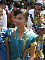 Krishna followers proudly show up in independance day parade, August 18th, Singaraja, North Bali, archipelago Indonesia, 2009