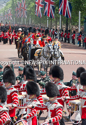 17.06.2017; London, UK: TROOPING THE COLOUR 2017<br /> Queen Elizabeth and the Duke of Edinburgh together with other members of the royal family attended the Trooping The Colour to celebrate the Queen&rsquo;s 91st Official Birthday.<br /> It was the turn of the Irish Guards to troop their colour this year.<br /> Royals present included the Duke of Edinburgh, Prince Charles and Camilla, Duchess of Cornwall, Prince William, Kate Middleton, Prince George; Princess Charlotte; Prince Harry, Prince Andrew; Princess Beatrice, Princess Eugenie, Prince Edward, Princess Anne, Zara Phillips &amp; Mike Tindal, Prince and Princess Michael Of Kent, Lady Helen Taylor, Duke of Kent, Duke of Gloucester and Duchess of Gloucester,Peter Phillips and Autumn and Lady Amelia Windsor.<br /> Mandatory Credit Photo: &copy;Francis Dias/NEWSPIX INTERNATIONAL<br /> <br /> IMMEDIATE CONFIRMATION OF USAGE REQUIRED:<br /> Newspix International, 31 Chinnery Hill, Bishop's Stortford, ENGLAND CM23 3PS<br /> Tel:+441279 324672  ; Fax: +441279656877<br /> Mobile:  07775681153<br /> e-mail: info@newspixinternational.co.uk<br /> Usage Implies Acceptance of OUr Terms &amp; Conditions<br /> Please refer to usage terms. All Fees Payable To Newspix International