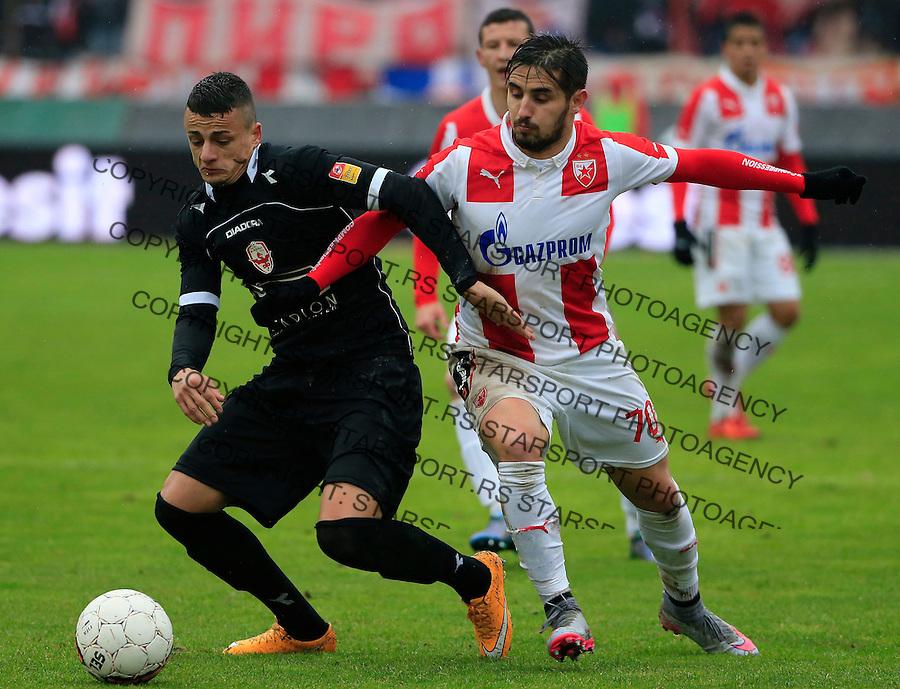 Fudbal Jelen Super League season 2015-2016<br /> Crvena Zvezda v Vozdovac<br /> Hugo Oliveira Vieira (R) and Borislav Terzic<br /> Beograd, 28.11.2015.<br /> foto: Srdjan Stevanovic/Starsportphoto&copy;