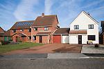 Modern suburban housing in private estate, Martlesham, Suffolk, England
