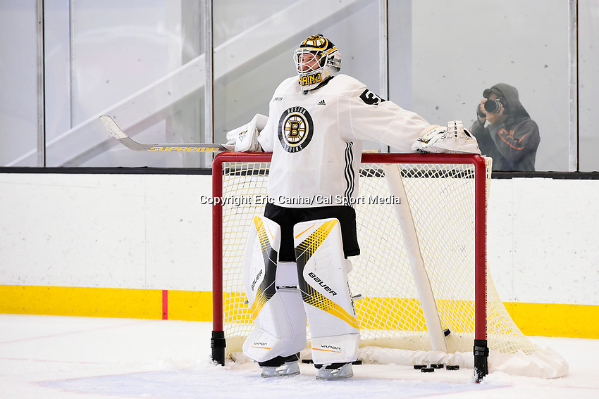 September 15, 2017: Boston Bruins goalie Zane McIntyre (31) gets a break during the Boston Bruins training camp held at Warrior Ice Arena in Brighton, Massachusetts. Eric Canha/CSM