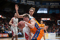 VALENCIA, SPAIN - APRIL 25: Luke Harangody during ENDESA LEAGUE match between Valencia Basket Club and Bruixa D'Or Basket at Fonteta Stadium on April 25, 2015 in Valencia, Spain