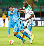 23.10.2014 Milan, Italy. Inter Milan vs ASSE Saint Etienne. Inter Milan's Fredy Guarin (R) vies with ASSE French Florentin POGBA in action during the UEFA Europa League game played at the Stadio Guiseppe Meazza.