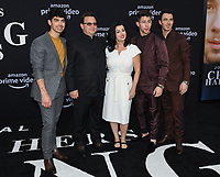 "02 June 2019 - Westwood Village, California - Joe Jonas, Paul Kevin Jonas Sr., Denise Miller-Jonas, Nick Jonas, Kevin Jonas. Amazon Prime Video ""Chasing Happiness"" Los Angeles Premiere held at the Regency Village Bruin Theatre. <br /> CAP/ADM/BB<br /> ©BB/ADM/Capital Pictures"
