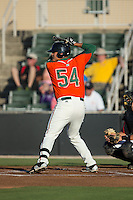 Arturo Rodriguez (54) of the Greensboro Grasshoppers at bat against the Kannapolis Intimidators at CMC-Northeast Stadium on June 11, 2015 in Kannapolis, North Carolina.  The Intimidators defeated the Grasshoppers 7-6.  (Brian Westerholt/Four Seam Images)