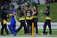 The Blaze celebrate a wicket during the women's Hallyburton Johnstone Shield one-day cricket match between the Wellington Blaze and Otago Sparks at Basin Reserve in Wellington, New Zealand on Saturday, 17 November 2018. Photo: Dave Lintott / lintottphoto.co.nz