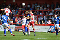 Ben Nugent of Stevenage and Ritchie Sutton of Tranmere Rovers during Stevenage vs Tranmere Rovers, Sky Bet EFL League 2 Football at the Lamex Stadium on 4th August 2018