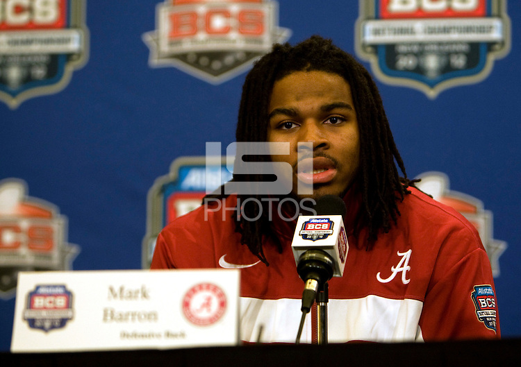 Alabama defensive back Mark Barron talks with the reporters during BCS Championship Alabama Defensive Press Conference at Marriott Hotel at the Convention Center in New Orleans, Louisiana on January 7th, 2012.