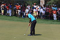 Shubhankar Sharma (IND) in action on the 12th during Round 4 of the Hero Indian Open at the DLF Golf and Country Club on Sunday 11th March 2018.<br /> Picture:  Thos Caffrey / www.golffile.ie<br /> <br /> All photo usage must carry mandatory copyright credit (&copy; Golffile | Thos Caffrey)
