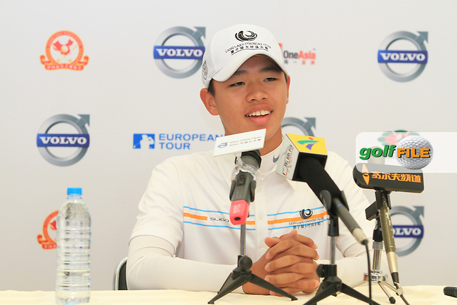 13 year old Guan (AM) Tian-lang (CHN) in the interview room on the 2nd on Day 2 of the 2012 Volvo China Open at Binhai Lake Golf Club, Tianjin, China...(Photo Jenny Matthews/www.golffile.ie)
