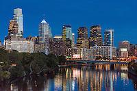 Philadelphia PA; Hotels; Skyline;  Schuylkill river, Buildings lit;, Dusk; Night; large city; United States