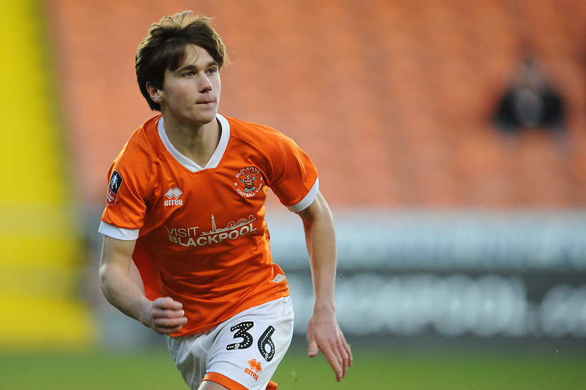Blackpool's Tony Weston<br /> <br /> Photographer Kevin Barnes/CameraSport<br /> <br /> Emirates FA Cup Second Round - Blackpool v Maidstone United - Sunday 1st December 2019 - Bloomfield Road - Blackpool<br />  <br /> World Copyright © 2019 CameraSport. All rights reserved. 43 Linden Ave. Countesthorpe. Leicester. England. LE8 5PG - Tel: +44 (0) 116 277 4147 - admin@camerasport.com - www.camerasport.com