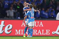 Arkadiusz Milik of Napoli celebrates with  Dries Mertens<br /> Napoli 30-10-2019 Stadio San Paolo <br /> Football Serie A 2019/2020 <br /> SSC Napoli - Atalanta BC<br /> Photo Cesare Purini / Insidefoto