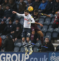 Preston North End's Tom Barkuizen jumps with Swansea City's Kyle Naughton<br /> <br /> Photographer Mick Walker/CameraSport<br /> <br /> The EFL Sky Bet Championship - Preston North End v Swansea City - Saturday 12th January 2019 - Deepdale Stadium - Preston<br /> <br /> World Copyright © 2019 CameraSport. All rights reserved. 43 Linden Ave. Countesthorpe. Leicester. England. LE8 5PG - Tel: +44 (0) 116 277 4147 - admin@camerasport.com - www.camerasport.com