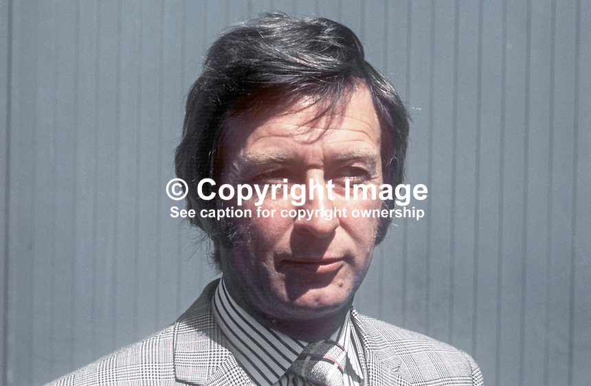 Peter Simms, managing director, Gambles Simms, steel stockholders, Lisburn, Co Antrim, N Ireland, UK, July 1974, 197407020372PS2<br /> <br /> Copyright Image from Victor Patterson, 54 Dorchester Park, Belfast, UK, BT9 6RJ<br /> <br /> Tel: +44 28 9066 1296<br /> Mob: +44 7802 353836<br /> Voicemail +44 20 8816 7153<br /> Email: victorpatterson@me.com<br /> Email: victorpatterson@gmail.com<br /> <br /> IMPORTANT: My Terms and Conditions of Business are at www.victorpatterson.com