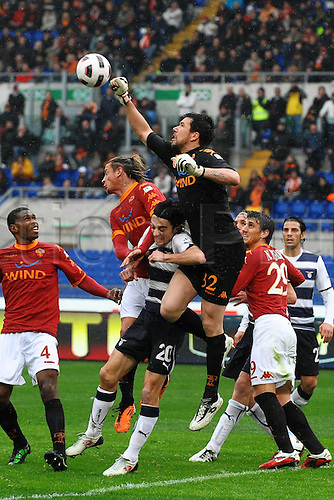 13.03.2011 Francesco Totti scored a free-kick and a penalty to win the Rome derby as Stefan Radu and Cristian Ledesma saw red for Lazio...Picture shows Roma goalkeeper Doni punching the ball away from goal.