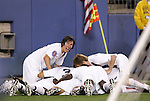 20 March 2008: Freddy Adu (USA) (11) is piled on by teammates including Sacha Kljestan (USA) (left) after scoring his second goal of the game. The United States U-23 Men's National Team defeated the Canada U-23 Men's National Team 3-0 at LP Field in Nashville,TN in a semifinal game during the 2008 CONCACAF Men's Olympic Qualifying Tournament. With the victory, the United States qualified for the 2008 Beijing Olympics.
