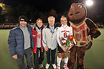 #6 Susie Rowe poses with her family and Testudo for a photo before Maryland's 10-0 win over VCU at the Field Hockey and Lacrosse Complex in College Park MD on October 30, 2008.  Christopher Blunck/UMTerps.com.