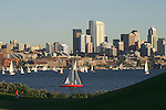 Seattle, Summer, Lake Union, Gasworks Park, Red sailboat, skyline circa 2004