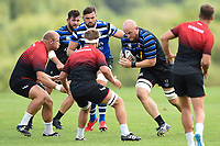 Matt Garvey of Bath Rugby in action against the visiting Dragons team. Bath Rugby pre-season training on August 8, 2018 at Farleigh House in Bath, England. Photo by: Patrick Khachfe / Onside Images