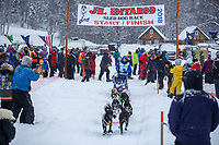 Christina Gibson during the start of the 2018 Junior Iditarod Sled Dog Race on Knik Lake in Southcentral, Alaska.  Saturday February 24, 2018<br /> <br /> Photo by Jeff Schultz/SchultzPhoto.com  (C) 2018  ALL RIGHTS RESERVED
