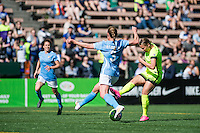 Seattle, WA - Sunday, April 17, 2016: Seattle Reign FC midfielder Merritt Mathias (9) takes a shot on goal during the first half of the match at Memorial Stadium. Sky Blue FC defeated the Seattle Reign FC 2-1during a National Women's Soccer League (NWSL) match at Memorial Stadium.