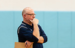 OXFORD,  CT-041519JS13- Oxford's boys volleyball head coach Rob Schumann looks on as his team battles Joel Barlow Monday at Oxford High School. <br /> Jim Shannon Republican American