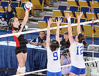 22 November 2008:  Western Kentucky University outside hitter Aquila Orr (15) hits a kill shot during the WKU 3-0 victory over New Orleans in the championship game of the Sun Belt Conference tournament at U.S. Century Bank Arena in Miami, Florida.