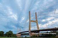 65095-02816 Bill Emerson Memorial Bridge at dusk-night over Mississippi River Cape Girardeau  MO