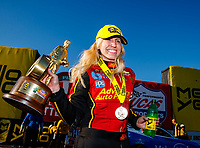 Feb 25, 2018; Chandler, AZ, USA; NHRA funny car driver Courtney Force celebrates after winning the Arizona Nationals at Wild Horse Pass Motorsports Park. Mandatory Credit: Mark J. Rebilas-USA TODAY Sports