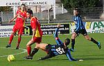 Cappellen (rood) vs. Hamoir :<br />Robbe Kil van Cappellen in duel met Fabio Farina