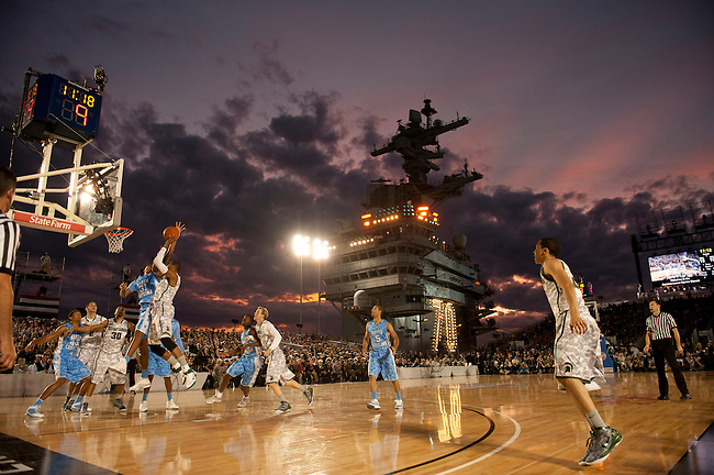 SAN DIEGO, CA - NOVEMBER 11, 2011: The Michigan State Spartans and the North Carolina Tar Heels in action during the 2011 Quicken Loans Carrier Classic on the USS Carl Vinson..(Photo by Robert Beck / ESPN)..- RAW FILE AVAILABLE -.- CMI000165208.jpg -