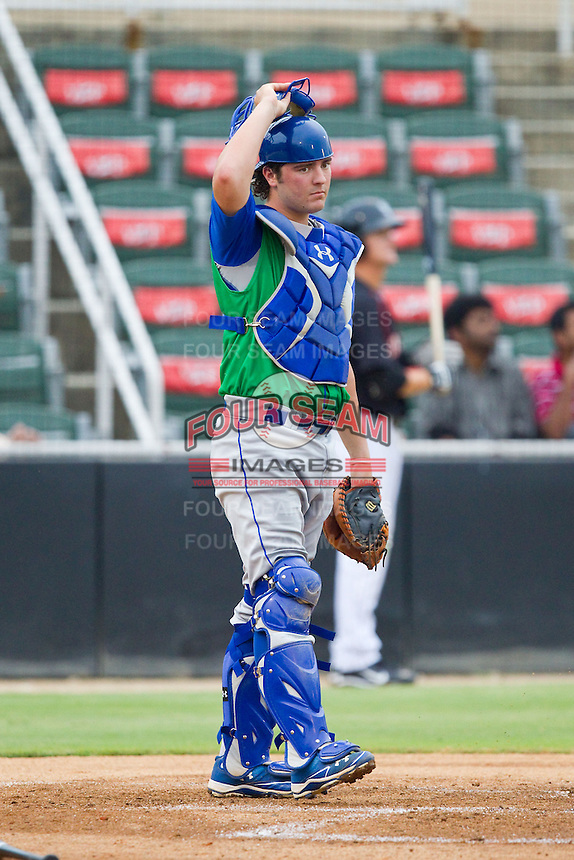 Lexington Legends catcher Cameron Gallagher (25) during the South Atlantic League game against the Kannapolis Intimidators at CMC-Northeast Stadium on July 30, 2013 in Kannapolis, North Carolina.  The Legends defeated the Intimidators 1-0.  (Brian Westerholt/Four Seam Images)
