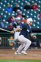 North Carolina Tar Heels designated hitter Brian Holberton #18 at bat during the NCAA baseball game against the Rice Owls on March 1st, 2013 at Minute Maid Park in Houston, Texas. North Carolina defeated Rice 2-1. (Andrew Woolley/Four Seam Images).