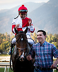 ARCADIA, CA: #5 Omaha Beach and jockey Mike Smith after their win in the Grade I Malibu Stakes at Santa Anita Park in Arcadia, California on December 28, 2019.