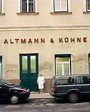 AUSTRIA, Vienna, a chocolatier standing outside the Altmann & Kuhne chocolate shop factory
