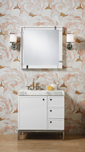 Peace Rose, a stone waterjet mosaic, shown in Heavenly Cream, Rosa Portagallo, Durango, and Honey Onyx, is part of the Ann Sacks Beau Monde collection sold exclusively at www.annsacks.com