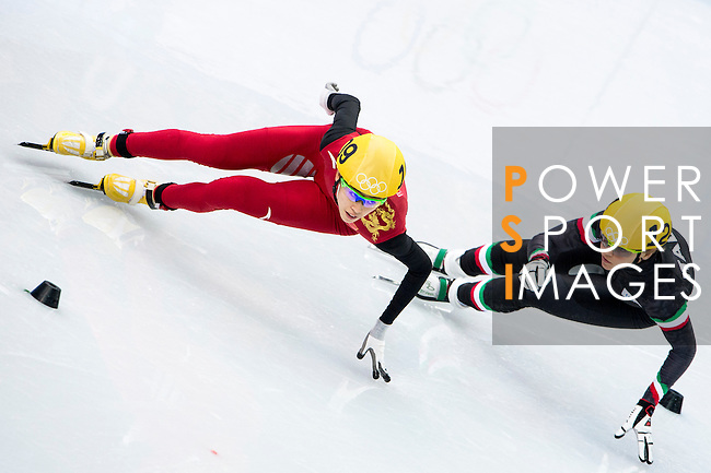 Kexin Fan of China being followed during the Short Track Speed Skating as part of the 2014 Sochi Olympic Winter Games at Iceberg Skating Palace on February 10, 2014 in Sochi, Russia. Photo by Victor Fraile / Power Sport Images