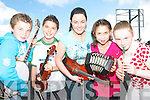 HIGH NOTES: Brosna musicians who are taking part in the All ireland feile Cheoil in Tullamore at the weekend..L/r. Gearoid Curtin, Maurice O'Keeffe, Ann Marie Fitzgerald, Sara O'Keeffe,  and Suzanne Curtin.   Copyright Kerry's Eye 2008