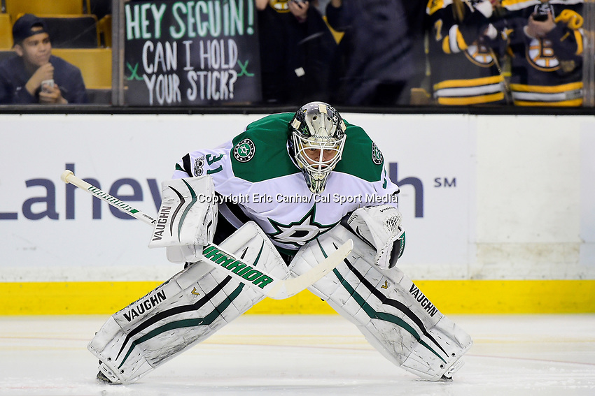 Thursday, March 30, 2017: Dallas Stars goalie Antti Niemi (31) warms up before National Hockey League game between the Dallas Stars and the Boston Bruins held at TD Garden, in Boston, Mass. Boston defeats Dallas 2-0. Eric Canha/CSM