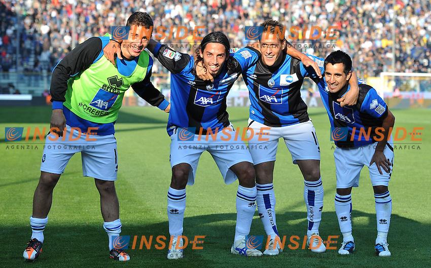 "Esultanza dopo il gol di Maximiliano MORALEZ  (Atalanta) goal celebration.Parma 23/10/2011 Stadio ""Ennio Tardini"".Serie A 2011/2012.Football Calcio Parma Vs Atalanta.Foto Insidefoto Alessandro Sabattini."