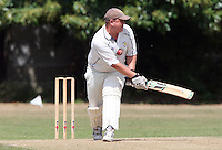 S Gosnel of Ardleigh Green gets one in the chest - Hornchurch CC 3rd XI vs Ardleigh Green CC 3rd XI, Essex Club Cricket at Fielders Sports Ground, Hornchurch - 03/07/10 - MANDATORY CREDIT: Rob Newell/TGSPHOTO - Self billing applies where appropriate - 0845 094 6026 - contact@tgsphoto.co.uk - NO UNPAID USE.