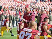 Washington Redskins head coach Jay Gruden on the field as his team warms-up prior to the game against the New Orleans Saints  at FedEx Field in Landover, Maryland on Sunday, November 15, 2015.<br /> Credit: Ron Sachs / CNP