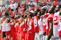 The OSU players sing Carmen Ohio at the end of the Ohio State Spring Football Game Saturday, April 18 2015.  (Dispatch Photo by Courtney Hergesheimer)