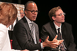 """Carol Marin, co-director of the Center for Journalism Integrity and Excellence, left, interviews Lester Holt, anchor of """"NBC Nightly News,"""" center, and Ben Welsh, a DePaul alumnus and data journalist with the Los Angeles Times, during a talk with College of Communication students, Thursday, April 20, 2017. The center honored Holt and Welsh for work that embodies the highest principles of journalism, including truth, accuracy, fairness and context. (DePaul University/Jeff Carrion)"""