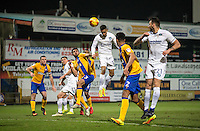 Paris Cowan-Hall of Wycombe Wanderers heads a shot at goal during the The Checkatrade Trophy  Quarter Final match between Mansfield Town and Wycombe Wanderers at the One Call Stadium, Mansfield, England on 24 January 2017. Photo by Andy Rowland.