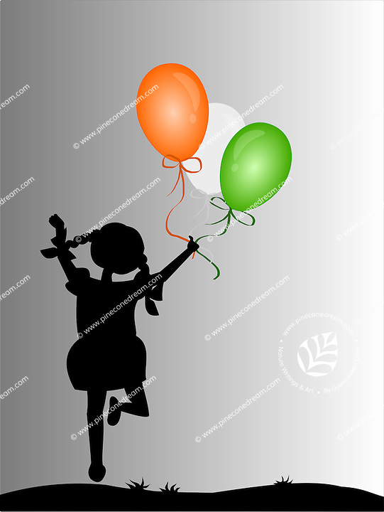 Silhouette of cute girl jumping with joy holding balloons of Indian national flag colors, background,vector illustration.<br />