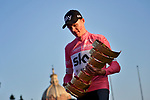 Maglia Rosa Chris Froome (GBR) Team Sky takes the overall victory and now holds all 3 grand tour titles on the podium at the end of Stage 21 of the 2018 Giro d'Italia, running 115km around the centre of Rome, Italy. 27th May 2018.<br /> Picture: LaPresse/Marco Alpozzi  | Cyclefile<br /> <br /> <br /> All photos usage must carry mandatory copyright credit (&copy; Cyclefile | LaPresse/Marco Alpozzi)