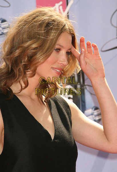 JESSICA BIEL.2007 MTV Movie Awards held at the Gibson Amphitheater, Universal City, California, USA..June 3rd, 2007.headshot portrait black sleeveless hand .CAP/ADM/RE.©Russ Elliot/AdMedia/Capital Pictures *** Local Caption *** ...